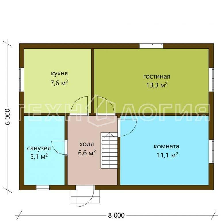 Дом из бруса метражом 6 на 8 м: проект одноэтажной брусовой конструкции размером 6х8, сколько кубов надо на двухэтажный коттедж, сколько нужно материала
