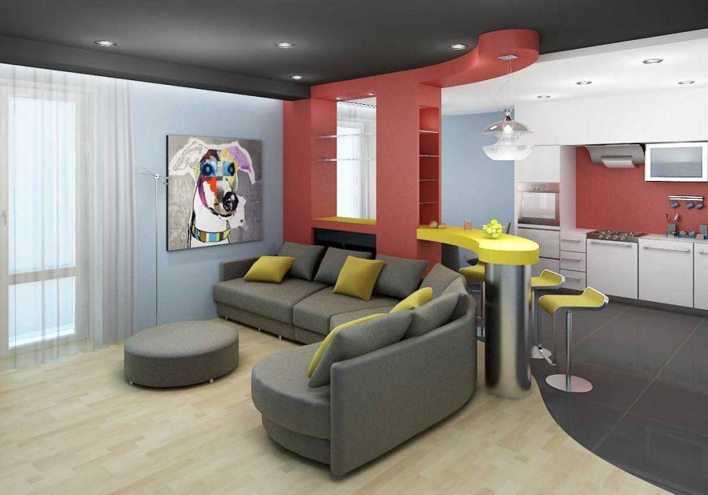 Оформление интерьера кухни, совмещенной с залом