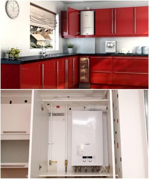 Как спрятать котел на кухне? 27 фото как закрыть напольный и другой котел индивидуального отопления в углу и в гарнитуре? варианты дизайна