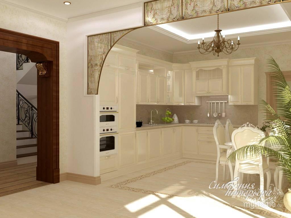 Дизайн арки между кухонным помещением и гостиной