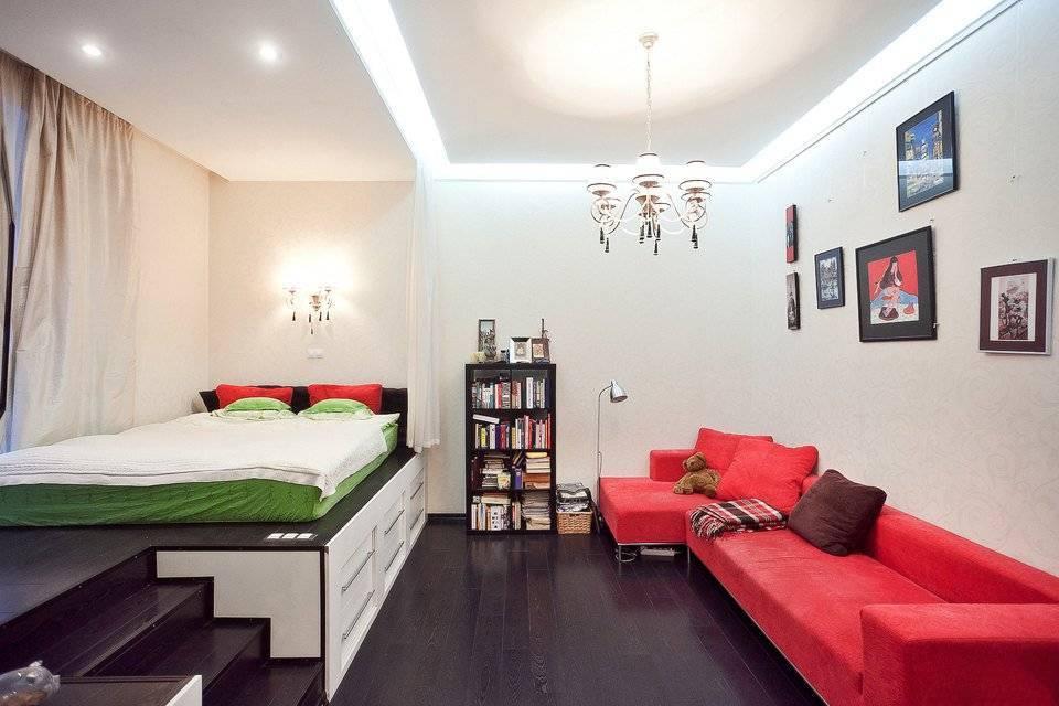 Дизайн комнаты 16 кв. м.: спальня и гостиная в одной комнате – реальные фото