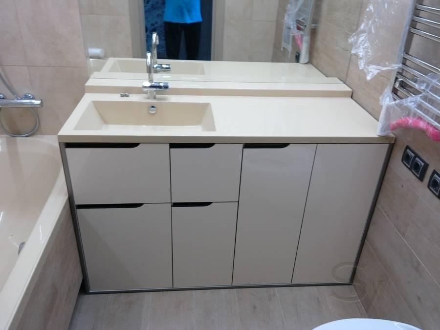 Тумба под накладную раковину: высота мебели под модель-чашу в ванной комнате, столешница для умывальника в стиле лофт