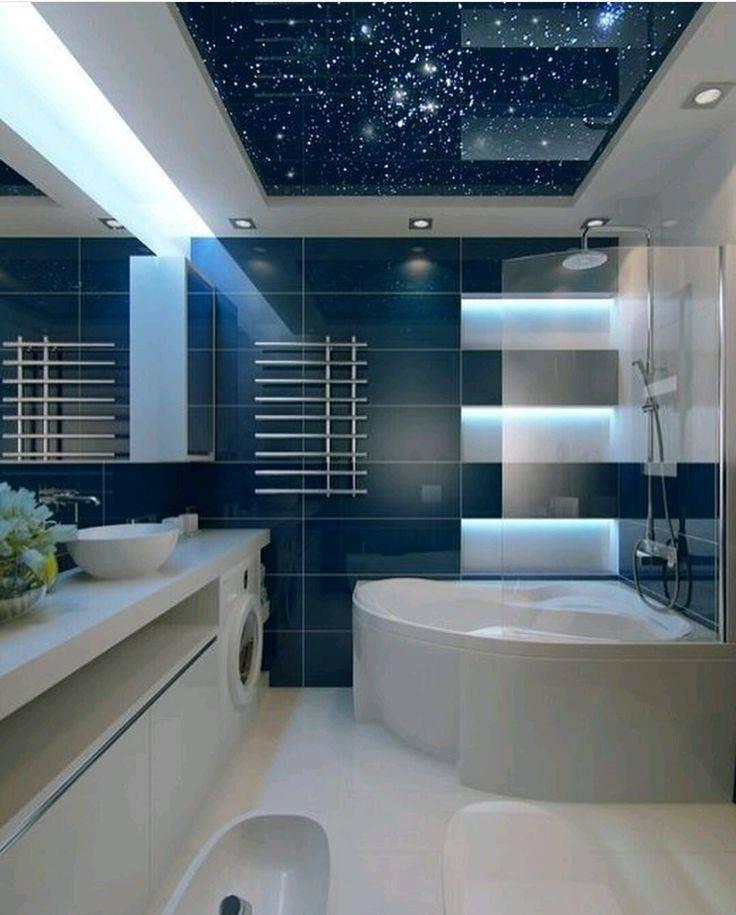 Натяжной потолок в ванной: топ-100 фото готового дизайна ванной