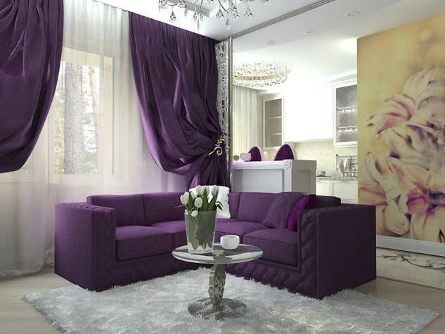 Фиолетовый диван (43 фото): диван сиреневого цвета из экокожи в интерьере и шторы в темно-фиолетовых тонах